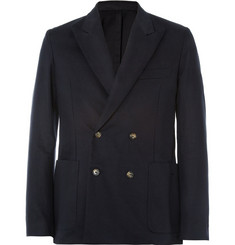 AMI Slim Double-Breasted Cotton-Gabardine Blazer