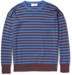 Ami Striped Knitted Linen and Cotton-Blend Sweater