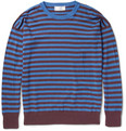 AMI - Striped Knitted Linen and Cotton-Blend Sweater
