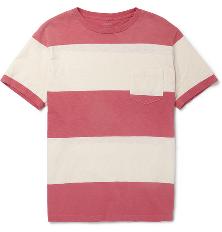 J.Crew Striped Textured-Cotton T-Shirt