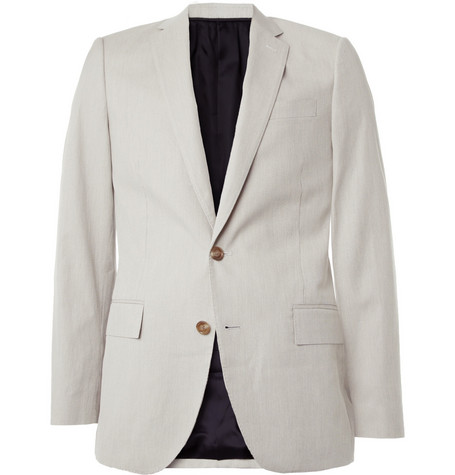 J.Crew Grey Ludlow Striped Cotton Suit Jacket