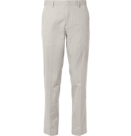 J.Crew Grey Ludlow Striped Cotton Suit Trousers