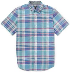 J.Crew Short-Sleeve Madras-Check Cotton Shirt