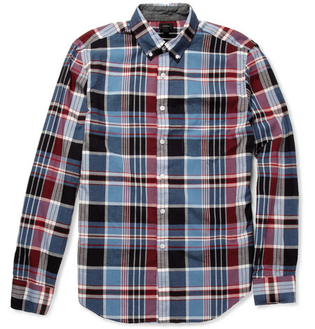 J.Crew Peyton Madras-Check Cotton Shirt