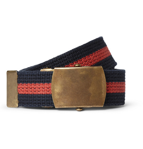 J.Crew Striped Cotton-Canvas Belt