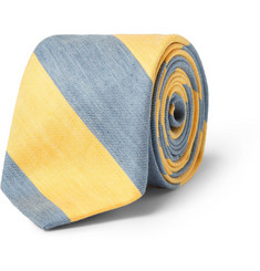 J.Crew Striped Linen and Cotton-Blend Tie