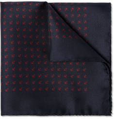J.Crew Anchor-Print Silk Pocket Square