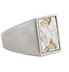 Maison Martin Margiela Engraved Silver-Plated Brass Ring