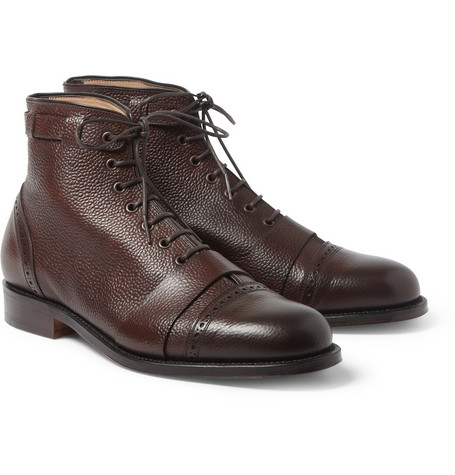 Foot the Coacher Grenson Sport Pebble-Grain Leather Brogue Boots