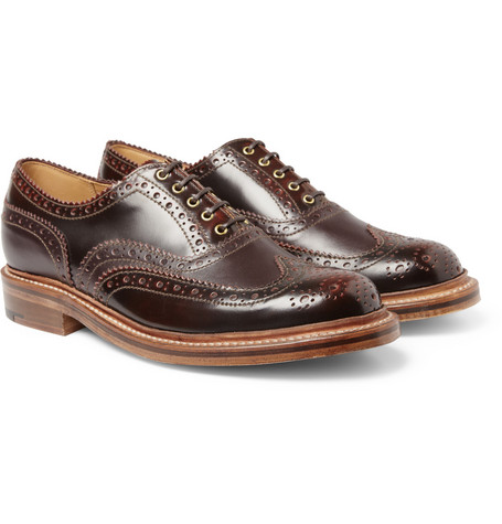 Grenson Stanley Burnished-Leather Wingtip Brogues