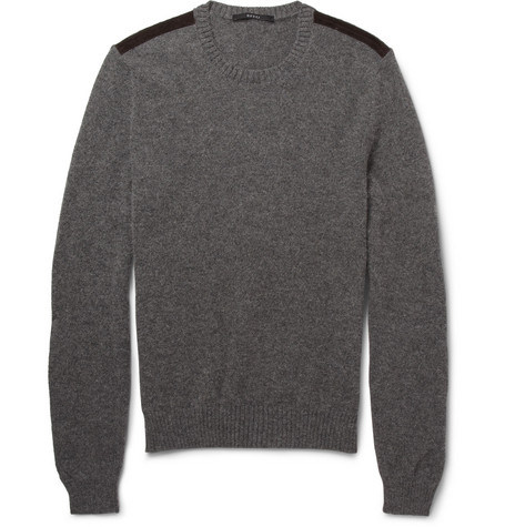 Gucci Suede-Trimmed Alpaca and Angora-Blend Sweater