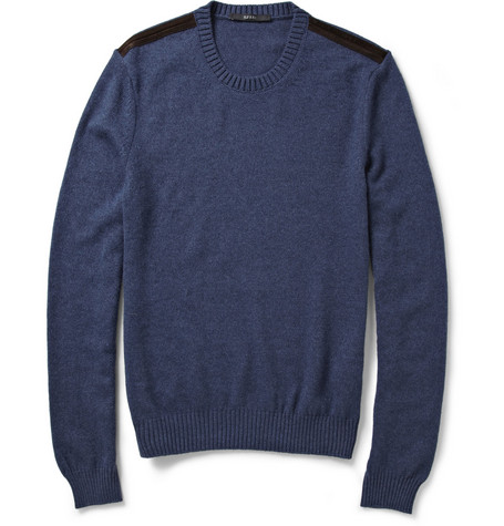 Gucci Suede-Trimmed Alpaca, Angora And Silk-Blend Sweater