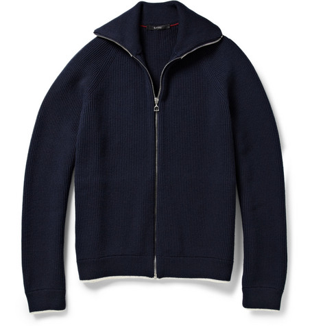 Gucci Zipped Ribbed-Knit Wool Cardigan