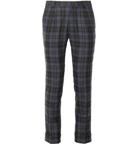 Gucci Riding Plaid Wool And Cashmere-Blend Trousers