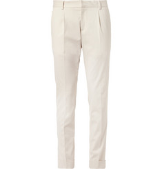 Gucci Slim-Fit Cropped Brushed Cotton-Blend Trousers