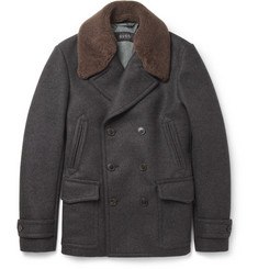 Gucci Shearling-Collar Wool Peacoat