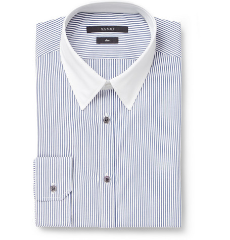 Gucci Blue Striped Contrast-Collar Cotton Shirt