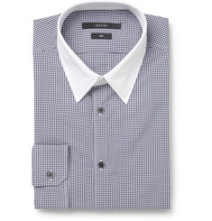 Gucci Navy Check Contrast-Collar Cotton Shirt