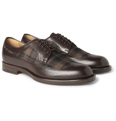 Gucci Leather And Plaid Flannel Oxford Shoes