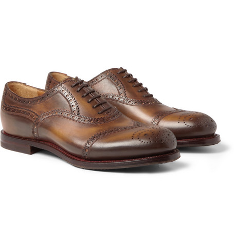 Gucci Burnished-Leather Brogues