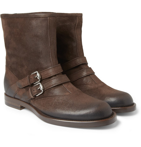 Gucci Burnished-Suede Double-Strap Boots