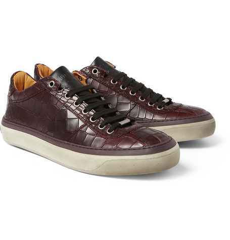 Jimmy Choo Portman Crocodile-Embossed Leather Sneakers