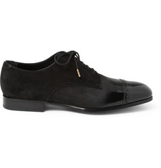 Jimmy Choo Prescott Patent Leather and Suede Derby Shoes