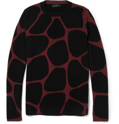 Burberry Prorsum Giraffe-Patterned Wool-Blend Sweater