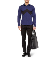 Burberry Prorsum Slim-Fit Chevron-Front Cotton Shirt