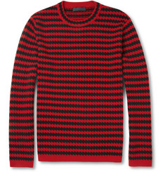 Burberry Prorsum Zigzag-Stripe Silk and Wool-Blend Sweater