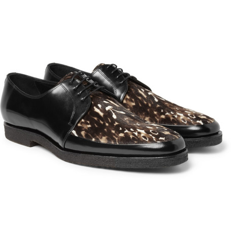 Burberry Prorsum Printed Ponyskin and Leather Derby Shoes