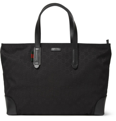 Gucci Leather-Trimmed Canvas Tote Bag