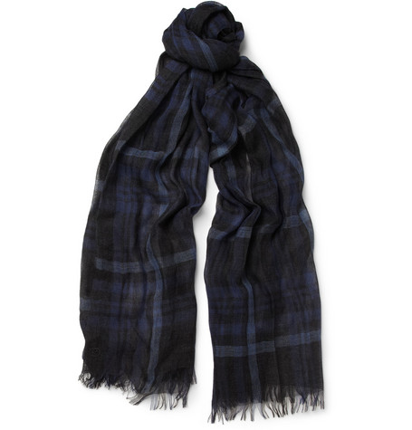 Gucci Plaid Cashmere and Silk-Blend Scarf