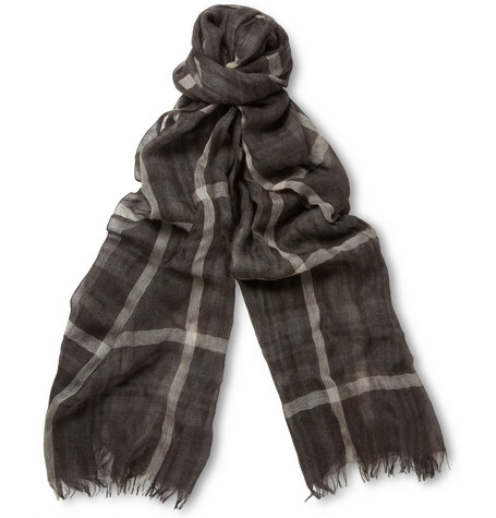 Gucci Check Cashmere and Silk-Blend Scarf