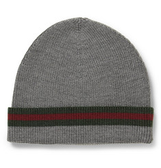Gucci Striped Wool and Silk-Blend Beanie Hat