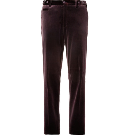 Etro Straight-Leg Velvet Suit Trousers
