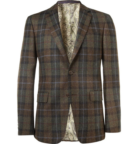 Etro Slim-Fit Plaid Wool Blazer