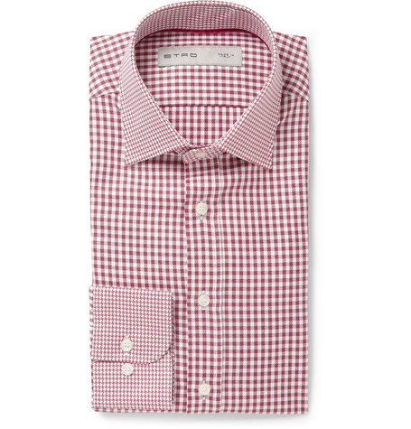 Etro Slim-Fit Contrast-Collar Cotton Shirt
