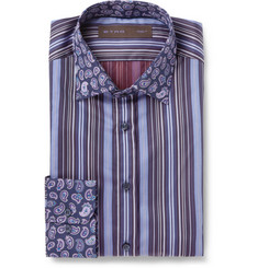Etro Navy Contrast-Collar Cotton Shirt