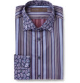 Etro - Navy Contrast-Collar Cotton Shirt
