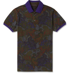 Etro Paisley-Print Cotton-Blend Polo Shirt