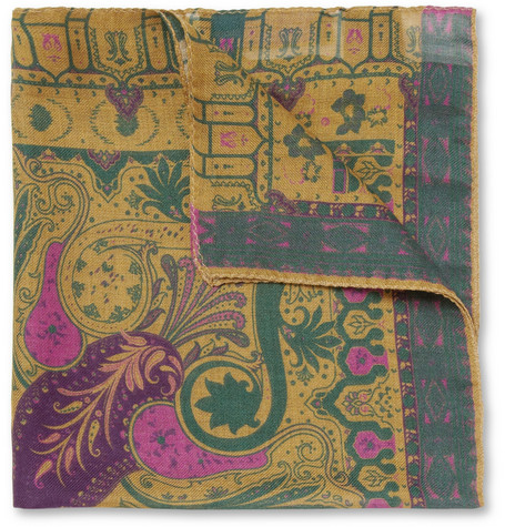 Etro Patterned Modal and Cashmere-Blend Pocket Square