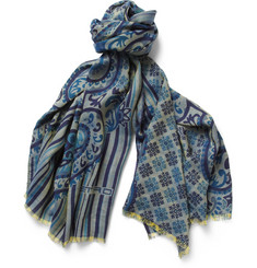 Etro Paisley-Print Wool and Silk-Blend Scarf