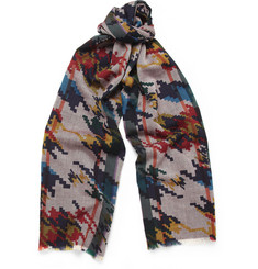 Etro Digital-Print Wool Scarf