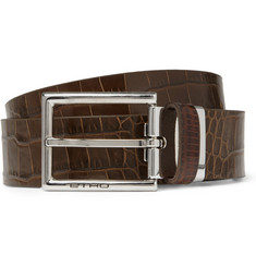 Etro Crocodile-Embossed Leather Belt