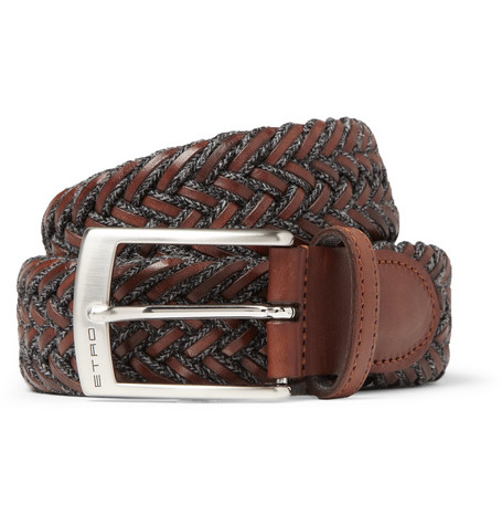 Etro Woven Leather and Cord Belt