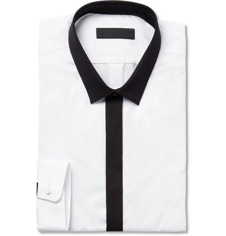 Burberry Prorsum White Slim-Fit Contrast-Trim Cotton Shirt