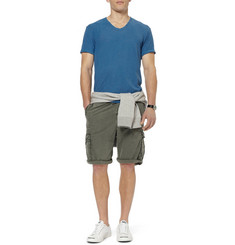 James Perse Faded Cotton-Blend Poplin Cargo Shorts