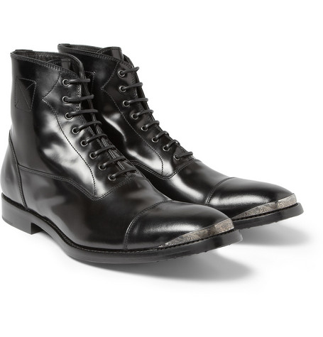 Alexander McQueen Metal Toe Cap Leather Boots