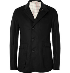 Alexander McQueen Leather-Collar Cotton Jacket